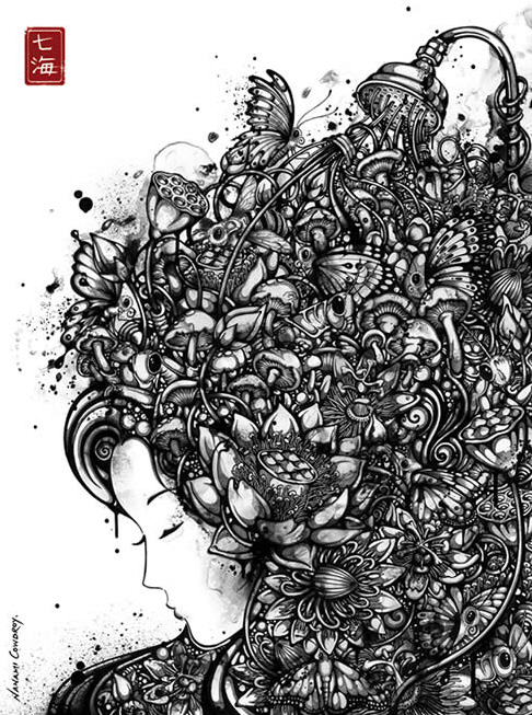чёрно-белый рисунок лисички